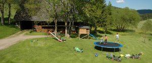 Spielwiese mit Trampolin, Spielhaus, Reck, Trettraktoren, Bobbycar und Reck / Griesbachhof-Schwarzwald