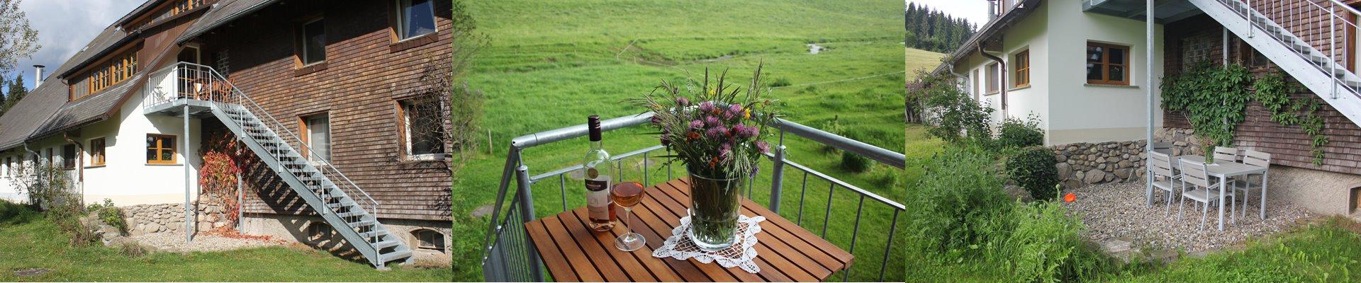 Collage: Aussenbereich Ferienwohnung + Treppe zur Terrasse mit Gartengarnitur / Griesbachhof-Schwarzwald
