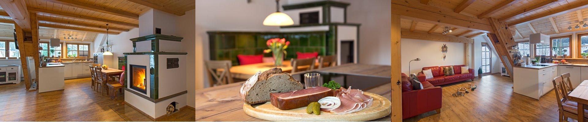 Collage: Ferienwohnung Kueche + Kachelofen + Wohnzimmer / Griesbachhof-Schwarzwald