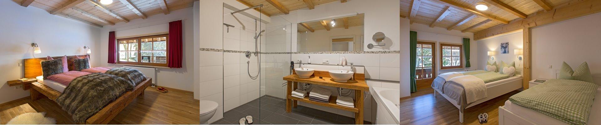Collage: Schlafzimmer1 + Bad mit Dsuche und Whirlwanne + Schlafzimmer2 / Griesbachhof-Schwarzwald