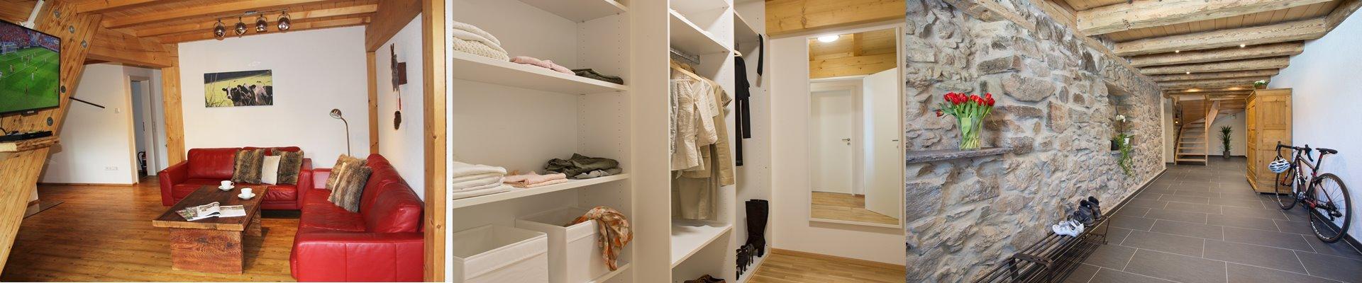 Collage: Wohnzimmer mit Flachbild-TV und Altholzcouchtisch + Begehbarer Kleiderschrank + Hausflur / Griesbachhof-Schwarzwald