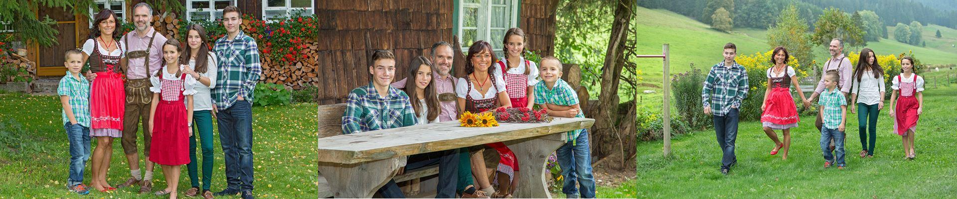 Collage: Familienbilder der Familie Ketterer / Griesbachhof-Schwarzwald