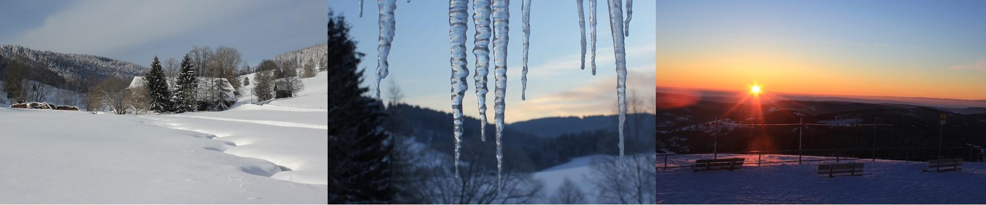 Collage: Schildwende und Griesbachhof im Winter + Eiszapfen + Sonnenuntergang auf dem Feldberg / Griesbachhof-Schwarzwald