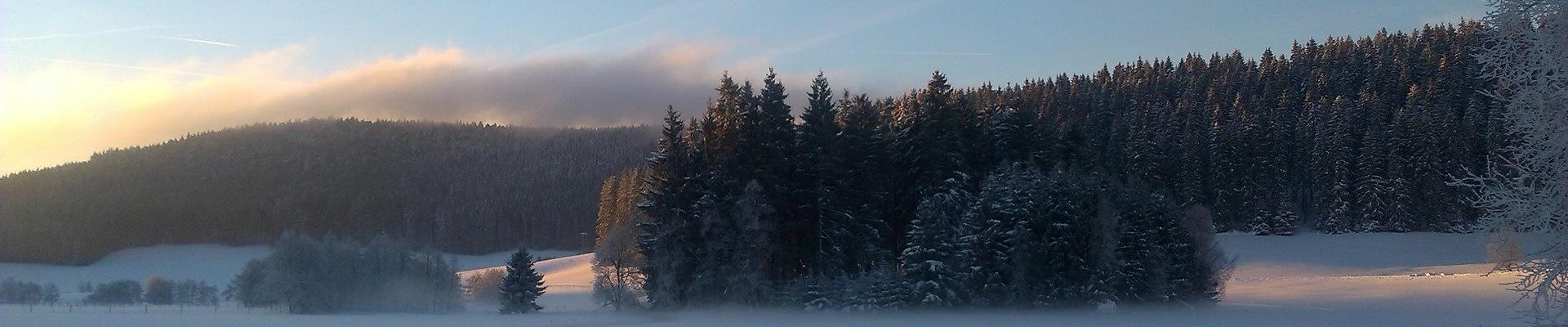 Sonnnenaufgang im verschneiten Jostal / Griesbachhof-Schwarzwald