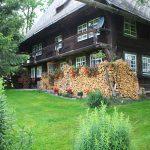 Ferienhaus Außenbereich im Sommer: Holzbiege und Blumen an der Südseite, Sträucher und saftiger Rasen im Garten davor