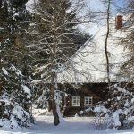 Ferienhaus Außenbereich im Winter: das verschneite Häusle hinter schützenden Bäumen