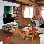 Ferienhaus Erdgeschoss: Kachelofen, Ledercouch und Flachbild-TV im Wohnzimmer