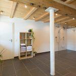 Wellnessbereich: Blick auf den Liegebereich mit Bepflanzung und Design-Dusche