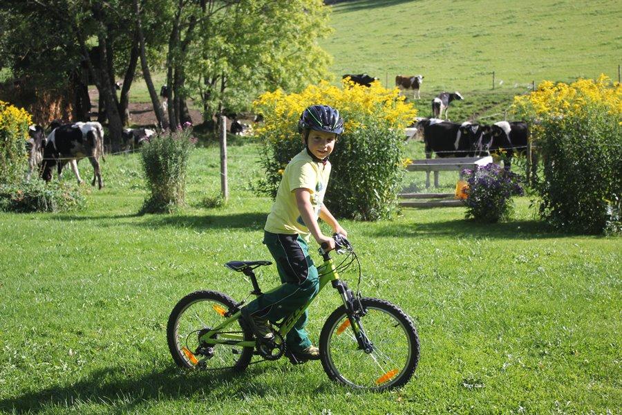 Spiel und Spaß am Griesbachhof: Anton am Radeln auf der Hofwiese